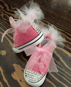 Pink bling Converse soft bottom by GirlieBlingByJess on Etsy  48 Baby  Sneakers c01d16bbe