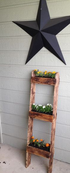 Planter from leftover pallets and a cedar fence plank.