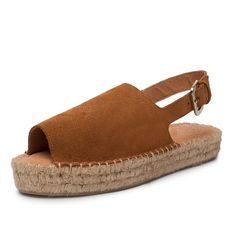 Back Strap Camel Platform Espadrilles Leather Alohas Sandals