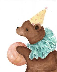 Woodland Animal Print Nursery Art Circus Bear by CynthiaCranesArt, $20.00