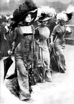Paris, 1908 at  The Prix du Prince de Galles at Longchamp racecourse. ...a furore breaks out as three beautiful models enter the enclosure –beneath their exquisite and exceptionally clinging gowns they appear to be wearing – nothing! It was obvious to all who saw them that the young women were wearing neither corset, petticoat nor chemise! The designer of the dresses was Jeanne Margaine-Lacroix.