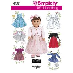 """OOP Simplicity sewing pattern 4364 Elaine Heigl designs 18"""" doll clothes fancy dress ballet tutu skirt jacket American Girl AG dolls by SewLizziPatterns on Etsy"""