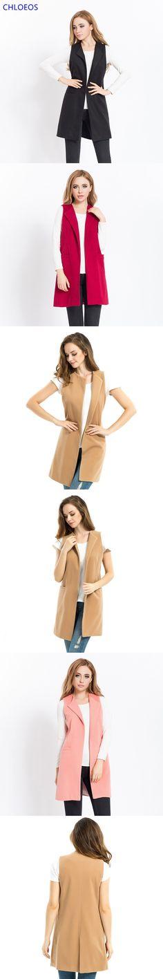2016 Spring New Women Fashion Faux Wool Sleeveless Vest Ladies Long Waistcoat Veste Femme Colete Feminino Gilet 3XL Plus Size