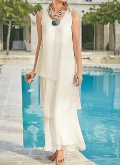 General Tunic Vacation Dresses Neutral Polyester Casual Shift Dress Spring Maxi Summer Sleeveless S M L XL XXL Solid Camisole Neckline Dress Mother Of Bride Outfits, Mother Of Groom Dresses, Mothers Dresses, Floryday Dresses, Necklines For Dresses, Fashion Dresses, Summer Wedding Outfits, Casual Summer Dresses, Vestidos Color Blanco