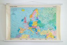 Original Vintage German Map of Europe