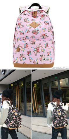 Fresh Floral Large Flower Student Bag School Canvas Backpack #bag #Backpack #flower