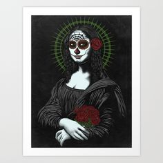 Viva La Mona Muerte Lisa Art Print by Fathi - $16.00