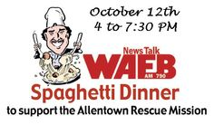 """Mark your calendars for this year's 11th annual News Talk 790 WAEB Spaghetti Dinner in support of the Allentown Rescue Mission, which will be held on October 12th at Asbury United Methodist Church in Allentown.  Since its inception, the dinner has traditionally been held at Asbury UMC, located at 1533 Springhouse Road in Allentown  WAEB's Bobby Gunther Walsh is set to serve up his """"secret-recipe"""" meatballs again this year."""