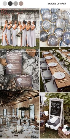 chic rustic shades of grey and metallic gold wedding color inspiration for fall and winter me for Unique Colorful Wedding Fashion!chic rustic shades of grey and metallic gold wedding color inspiration for fall and winter Wedding Goals, Wedding Themes, Wedding Favors, Wedding Ceremony, Our Wedding, Dream Wedding, Wedding Rustic, Wedding Ideas For Bride, Rustic Outside Wedding