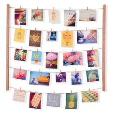 Umbra Hangit Photo Display - DIY Picture Frames Collage Set Includes Picture Hanging Wire Twine Cords, Natural Wood Wall Mounts and Clothespin Clips for Hanging Photos, Prints and Artwork (Mint) Cadre Photo Design, Cadre Photo Diy, Diy Photo, Photo Ideas, Marco Diy, Cidades Do Interior, Exposition Photo, Deco Originale, Collage Picture Frames