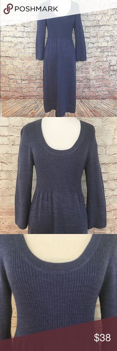 "Boden Empire Waist Knit Dress Adorable soft and comfy gray blue midi empire waist dress with a ribbing bodice and long sleeves.  100% Wool. Size 12. Bust 39.5"". Length 47"". Like new condition. No flaws or signs of wear. Boden Dresses Midi"