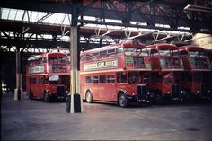 RTs seen in Abbey Wood Garage (AW). All the buses in this picture are on route AW also at this time ran route 177 and with 161 and 99 on Sundays. This was probably a Sunday with all the in the garage. London Bus, East London, Rt Bus, Routemaster, Double Decker Bus, London Transport, Garages, Great Britain, Buses