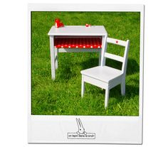 Vintage school desk and his kids matching chair in grey pearl and red oilcloth
