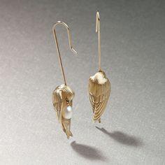 Gabriella Kiss Freshwater Pearl Sleeping Bird Earrings