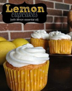 Lemon Cupcakes  (About 20 cupcakes)  Ingredients 1 yellow cake mix 3 eggs 1 cup water 1/3 cup oil 3-5 drops Améo Lemon Essential Oil zest from one lemon  frosting: 1/2 cup softened butter 3 oz softened cream cheese 6 cups powdered sugar 2-3 drops Améo Lemon Essential Oil 2-3 Tablespoons milk  To make cupcakes, preheat oven to 350. Mix all the ingredients well, put in cupcake forms. Bake for 18-20 minutes or until a toothpick inserted into the center comes out clean. Add topping