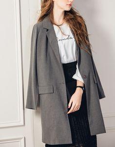 簡約隨興感長版西裝外套.女裝.PAZZO