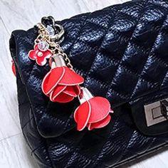 Camellia Leather Tassels Floral Three Rose Handbag Key Chain Pendant Red