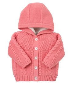Pink Hooded Cardigan
