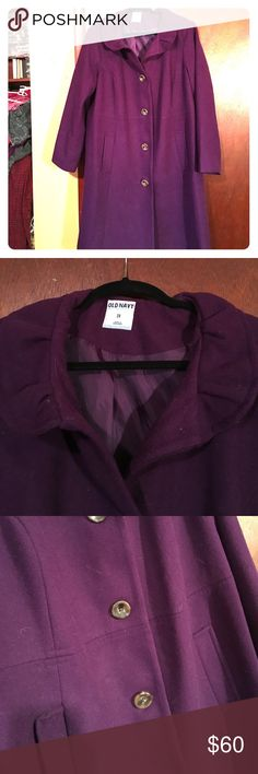 Beautiful Purple Wool Coat Lady 2X Plus Old Navy Up for grabs is a NWOT line wool princess seamed coat from Old Navy. I would say the color is a dark royal purple. Brand new, no tags and never worn. I didn't like the ruffle at the neck. Give this s good home! It fits really well and is very flattering. Collar stands up when the top button is button but you can fold it down as well. Happy looking ladies!!! Underarm is 25in and please see last pic for a tiny thread on first button. Old Navy…