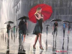 PETE RUMNEY FINE ART MODERN ACRYLIC OIL ORIGINAL PAINTING RED UMBRELLA SIGNED in…