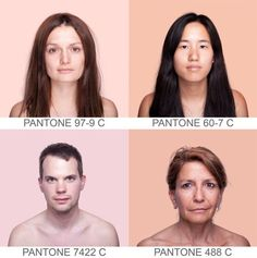 """Brazilian artist Angelica Dass created the visually stunning project Humanæ, where she matches skin tone to a PANTONE® color. The ongoing portraiture project takes a sample of 11×11 pixels of the model's face and then matches it to the exact PANTONE® tone. The background is then dyed to the exact tone. You could say the result is a color """"HUE""""MAN (ha!)?"""