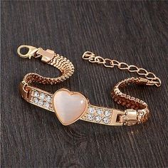 awesome  Fashion Women Gold Plated Crystal Opal Stone Bangle Love Heart Charm Bracelet SS - For Sale