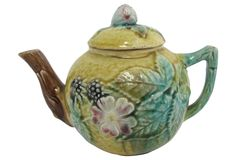 Antique Majolica Single Cup Teapot | One Kings Lane