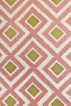 Alannah Linen Fabric Light grey cotton upholstery fabric with small diamond print in mauve and green. Minimum order of 5 metres.