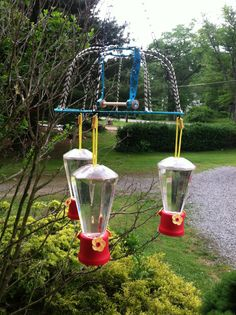 My diy chandelier hummingbird feeder i made it from 2 wire plant hummingbird feeder for under 5 walmart feeders 1 each dollar tree wire basket 1 mozeypictures Choice Image