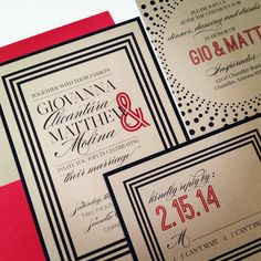 Gold and Black Wedding Invitation- SUIT AND TIE - Modern Chic Wedding Invitations with red envelopes. $4.00, via Etsy.