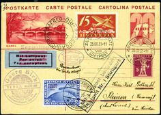 1931 (August) Zeppelin 1st South America Flight, MIXED FRANKING with Germany 2RM Polar-Fahrt issue, Swiss 20rp postal card with 20rp addl franking sent from Zurich (25.VIII.31 airpost cds) with Stuttgart box airmail hs, flown by Zeppelin and though intended (by tiny private cachet and ms) for Pernambuco, shows clear Rio receiver (1.IX.31), very fine premium item (Sieger 124 Ca variety)  Dealer David Feldman S. A. Geneva  Auction Minimum Bid: 300.00EUR