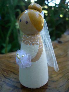 duplicate: Wood Cake Toppers : Elegant Bride Tulle Veil & Bouquet Blonde Hair