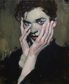 Malcolm Liepke, Hands to Face 2016, oil on canvas More