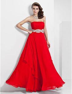 Occasion Evening Dress, A-line Strapless Floor-length Chiffon - USD $ 179.99