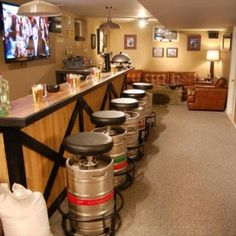 The staples of most any Man Cave: a pool table and/or a bar. Check out these awesome examples for inspiration. Browse the photo gallery from DIY Network's Man Caves. Deco Cars, Ultimate Man Cave, Beer Keg, Man Cave Garage, Garage Bar, Garage Ideas, Woman Cave, Man Cave Bar, Man Room