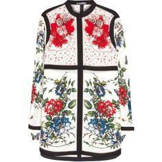 Alexander McQueen Ivory floral-print silk shirt (£1,030) ❤ liked on Polyvore featuring tops, floral print shirt, silk shirt, shirt top, white silk shirt and white floral top