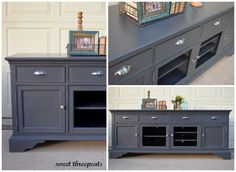 Lovely custom tv console in General Finishes Queenstown Gray. The new cup pulls look fantastic on this piece! Furniture Projects, Furniture Makeover, Diy Furniture, Furniture Design, Painted Furniture, Dresser Makeovers, Refinished Furniture, Repurposed Furniture, Television Console