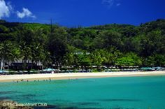 Kata Noi Beach, Phuket, Thailand. The Katathani Resort in 2012, with many large trees in its wide beachfront gardens obscuring the buildings...