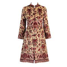 Indian-Inspired Tapestry Coat as seen on Mad Men Batik Blazer, Blouse Batik, Batik Dress, Batik Fashion, Abaya Fashion, Fashion Dresses, Batik Muslim, Hijab Fashion Inspiration, Dress With Cardigan