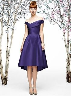 Dessy: short purple off shoulder bridesmaid dress..live the style, but probably in blue