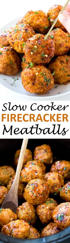 Slow Cooker Firecracker Chicken Meatballs - The perfect blend of spicy and sweet! They make a great appetizer or main dish - chefsavvy.com