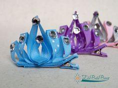 Princess Crown Ribbon Sculpture Hair Clip Royal by EllaBellaBowsWI