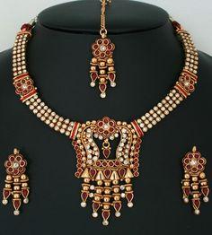 Indian Fashion White, Ruby Red stones polki jewelry Necklace set-011PLKJ53  http://www.craftandjewel.com/servlet/the-1717/Indian-Fashion-White%2C-Ruby/Detail