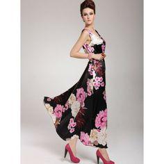 Vestido Tale Vestido longo em tecido Cetim com manga curta em linda estampa abstrata de flores R$ 87,90  #lojaoziris #vestidocetim #vestidojapão #vestidofloral #vestidopreto #vestidofesta #flores #lojaoziris #moda #modafeminina