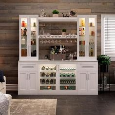 Home Wine Bar Cabinetry Set by NewAge Products Available in White or Brown Finish Home Wine Bar, Diy Home Bar, Coffee Bar Home, Wine And Coffee Bar, Coffee Bar Design, Kitchen Bar Design, In Home Bar Ideas, Back Bar Design, Wine Bar Design