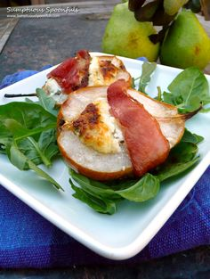Bacon Wrapped, Roasted Pears with Herbed Goat Cheese. Made for Thanksgiving and so tasty!