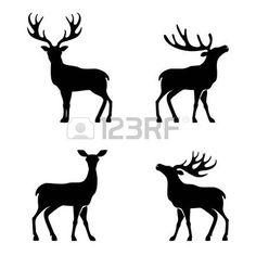chevreuil dessin: Vector illustration de la collecte des cerfs silhouette