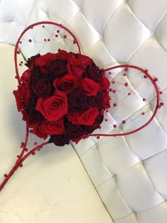 Charlotte roses, baccara roses bridal bouquet with love  by Trish Upshaw