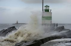 Storm on the pier of IJmuiden, The Netherlands