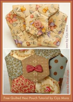These quilted hexie pouches are so pretty! I am showcasing two free quilting tutorials for the same hexie pouch so that you have the benefit of two creative perspectives, perhaps variations of qui… Quilting Tutorials, Quilting Projects, Sewing Tutorials, Sewing Crafts, Sewing Projects, Free Tutorials, Quilt Patterns, Sewing Patterns, Block Patterns
